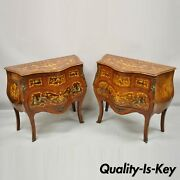French Louis Xv Styl Marquetry Inlay Bombe Commode Chest Bedside Table - A Pair