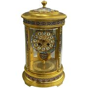 Antique French Gilt Champlevandeacute Table Or Mantel Clock With Original Pendulum
