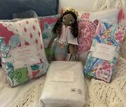 Pottery Barn Lilly Pulitzer 6pc Patchwork Crib Quilt Skirt Sheets Mermaid Doll