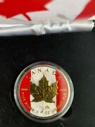 2014 1oz Canadian Patriotic Maple Leaf Silver Coin Gold Plated