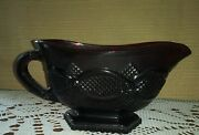Vtg Avon 1876 Cape Cod Ruby Red Glass Footed Gravy/sauce Boat And Red Candlesticks