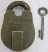 Brass Padlock Or Lock With Key Old Or Antique Heavy And Strong Rich Patina