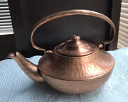Vintage Gregorian Hammered Copper Teapot Kettle Fine Copperware, Made In Usa