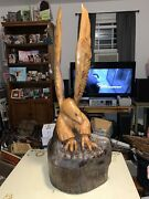 """Gorgeous Hand Carved Wooden Eagle-singe Piece Of Wood-32.75x12.5""""-17 1/2 Pounds"""