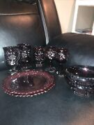 Avon 1876 Cape Cod Ruby Red Salad Plates Wine Cups Wine Goblets Creamer Bowels