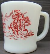 Vintage Fire King Davy Crockett Mug Red Print Horses Covered Wagon Oven Ware 60s