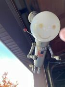 Vintage 1960and039s Astronaut Or Robot Alien With Globe Ceiling Lamp Metal