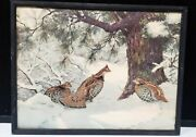 1941 A. Lassell Ripley Framed Litho Print Signed Pheasants/quails In Snow