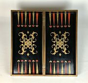Rare Antique C1800 Chinese Lacquer Chess And Backgammon And Checkers Board