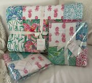 Nwt Pottery Barn Pineapple Party Patchwork F/q Quilt +2 Shams Lilly Pulitzer