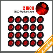 20pcs Red 2 9 Led Round Truck Trailer Side Marker Clearance Lights W/grommet