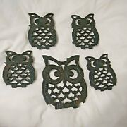 Owl Trivets Cast Iron Set Of 5 Vintage 1970s Taiwan Black Large And Small Decor