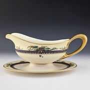 Lenox China Vintage Florida Gravy Sauce Boat W/ Liner In An Awesome Pattern