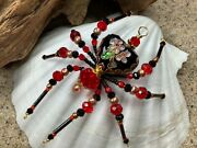 Cloisonnandeacute Black Heart Beaded Christmas Spider Ornament By Sue Deyoung Designs