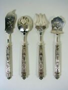 Antique French Empire Carved Solid Silver Hors Dand039oeuvres Set In Their Box Marks