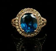 Levian Signed Natural Sea Blue Topaz And Chocolate Diamond Halo 14k Rose Gold Ring