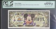 2005 Disney 50th Anniversary Series Pcgs 65ppq 50 Mickey Mouse Note
