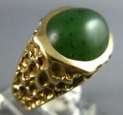 Estate Large Aaa Jade 14kt Yellow Gold 3d Classic Oval Nugget Mens Ring