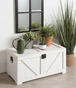Farmhouse Storage Trunk Rustic Vintage White Wooden Blanket Chest Coffee Table
