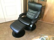 Fjords Trandal - Black Leather Recliner And Ottoman - Nice - Clean -not Ekornes