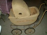 Antique Vintage Wicker Metal Baby Buggy/stroller/carriage
