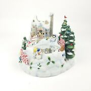 Partylite Snowbell Candle Holder Ice Skating Snowman Christmas Music Box P7651