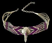 L Chavez Sanel Necklace Native American Indian Plum Stone Sterling Silver Choker