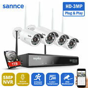 Sannce 5mp 8ch Nvr Wireless 3mp Audio Security Ip Camera System Wifi Outdoor 1tb