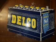 Vintage Original Delco Batteries Die Cut Advertising Sign Double Sided