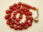 Old Real Antique Rare German Bakelite Amber Necklace Rosary Prayer Beads 29 Gr.