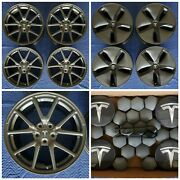 Tesla Model 3 Oem 18 Wheels With Caps Covers And Lug Caps 2017-2020 Clean Set
