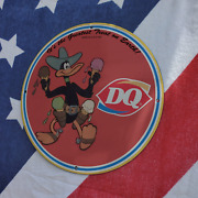 Vintage 1937 Dairy Queen Ice Cream ''daffy Duck'' Porcelain Gas And Oil Pump Sign