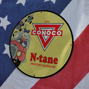 Vintage 1934 Conoco New Day Gasoline ''donald Duck'' Porcelain Gas And Oil Sign