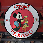 Vintage 1939 Texaco Fire Chief Gasoline And039and039andy Pandaand039and039 Porcelain Gas And Oil Sign