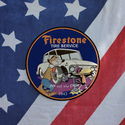Vintage 1943 Firestone Tire Service And039fox And The Crowand039 Porcelain Gas And Oil Sign