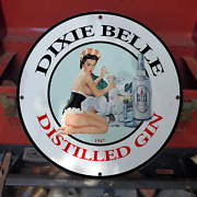 Vintage 1947 Dixie Belle Distilled London Dry Gin Porcelain Gas And Oil Sign