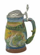 Longton Crown Stein National Freshwater Fishing Hall Of Fame W/ Fish Handle
