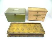 Mixed Lot Of Storage Sewing Case Trinket Boxes Cabinet Sliding Top Wood