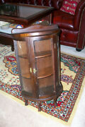 Antique Wood And Curved Glass Wall..table Top Curio Display Case Cabinet...legs