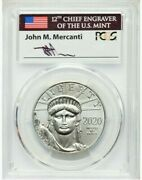 Mercanti Signed 2020 100 Platinum Eagle Pcgs Ms70 First Day Of Issue 1 Oz