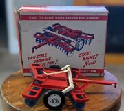Rare Vintage 1950and039s Tru-scale Wheel-carried Disc Harrow H-412 W/ Box Unused Toy