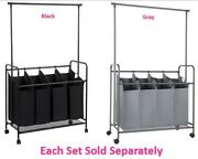 4 Bags Laundry Sorter Rolling Carts W Hanging Bar And 4 Heavy-duty Lockable Wheels