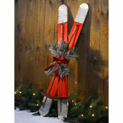 Glitzhome 35and039and039h Red Galvanized Wood Ski Porch Sign Christmas Wall Hanging Decor