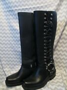 Harley-davidson Women's 16 Tall Lace Zip Black Leather Motorcycle Boots 88415