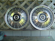 Two Vintage 1964 64 Ford T Bird Thunderbird Hubcaps Wheel Covers Center Caps