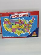 """Map Of The United States And World Map Jigsaw Puzzle By Milton Bradley 20x14"""" New"""