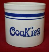 Pottery Cookie Crock Utensil Holder Tan With Blue Stripes 6 1/8 In. Tall Fp Usa