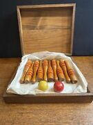 Antique Trixy Toy Ten Pins Toy Bowling Game With Dovetailed Box Very Rare L@@k