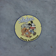Vintage 1939 Packard Sales And Service And039and039mickey Mouseand039and039 Porcelain Gas And Oil Sign
