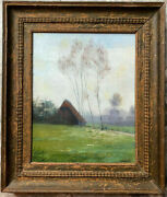 Unreadable Signed° Farmhouse Cows 1901° Oil Painting Frame North German Antik